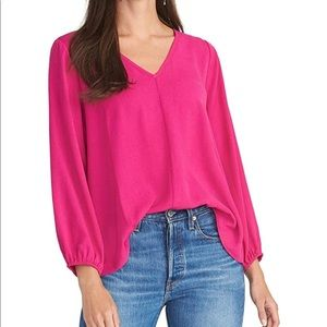 RACHEL Rachel Roy Pink 3/4 Sleeve V-Neck Top XS